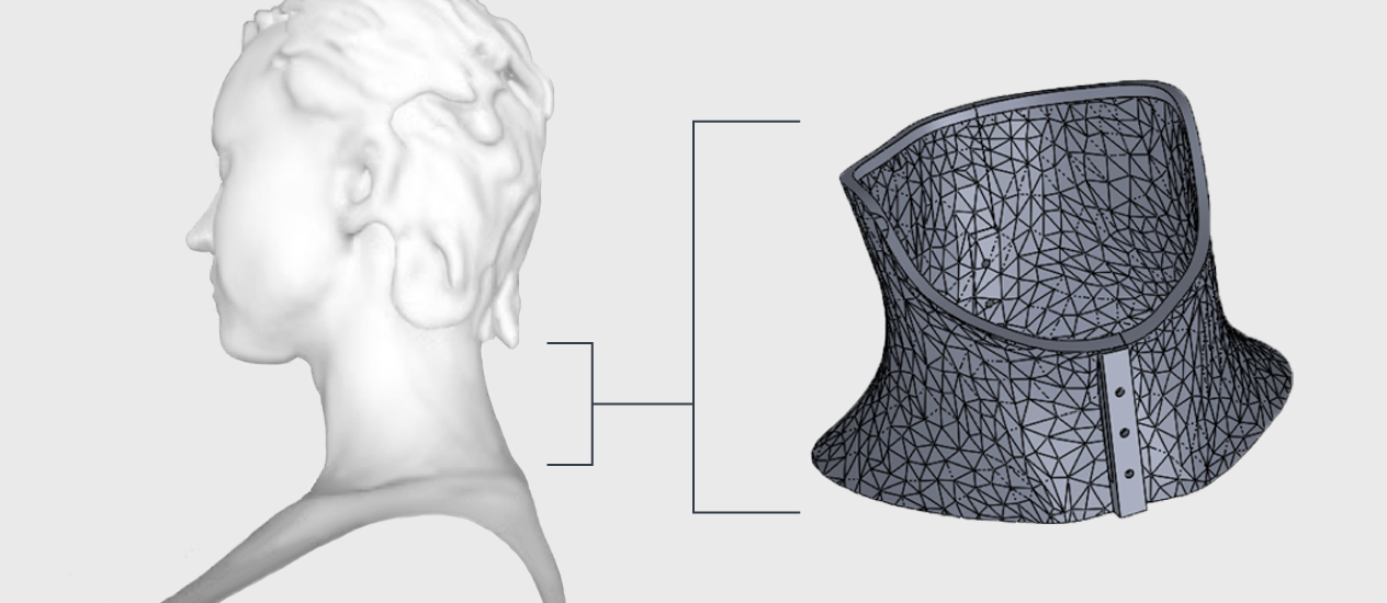 3D scan reconstruction of patient and the custom STL file for the cervical collar that was derived from it.