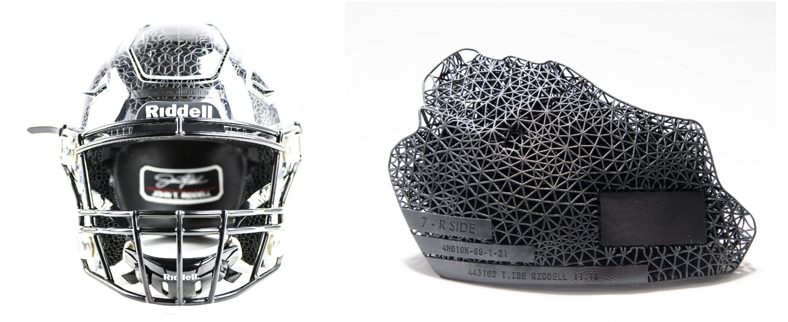A Riddell helmet and an individual pad with an outer layer of strut latticing over a gyroid lattice interior